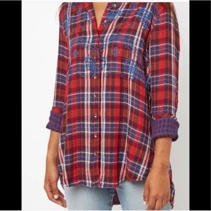 Free People Magical Plaid Embroidered Button Top